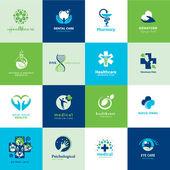 Conjunto de iconos planos médicos — Vector de stock