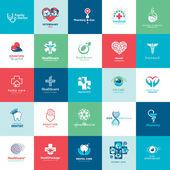 Set de iconos para la medicina, la asistencia sanitaria, farmacia, veterinario, dentista — Vector de stock