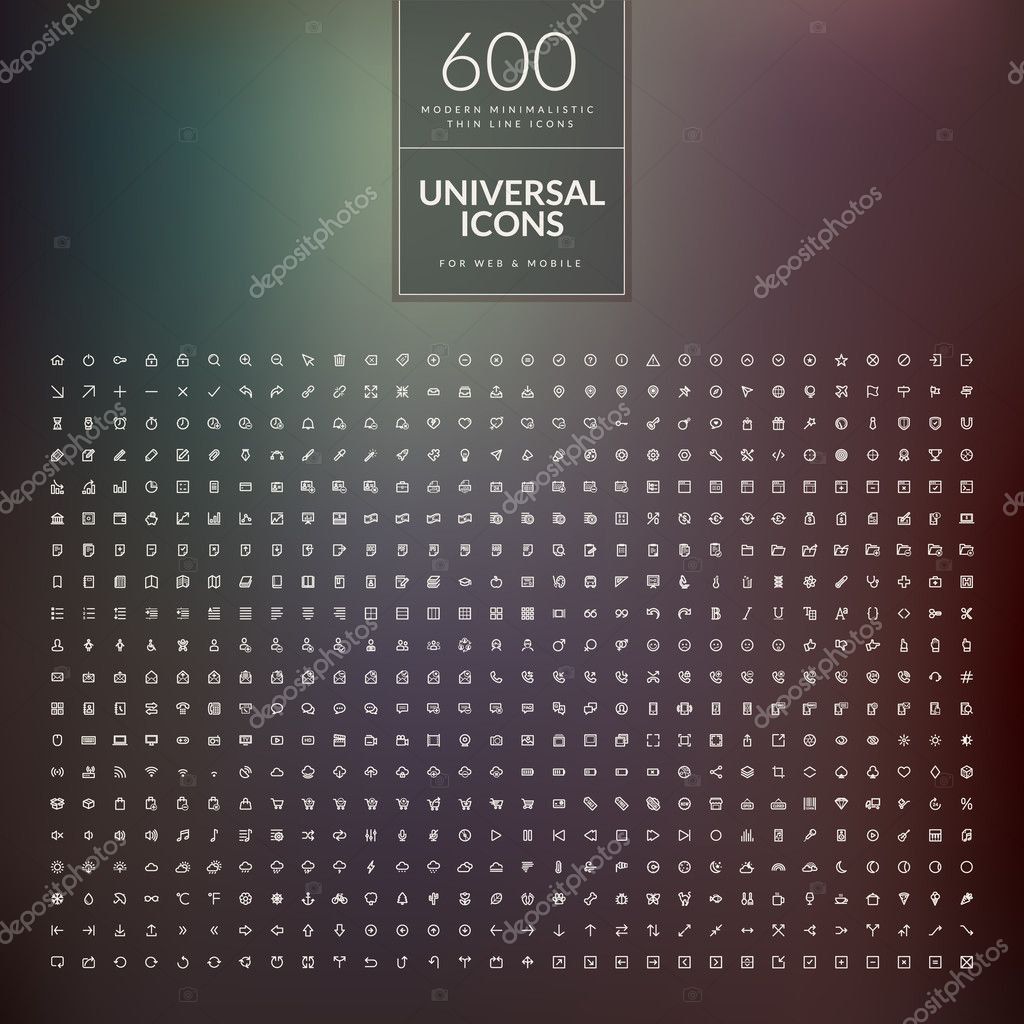 Universal modern icons for mobile