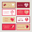 Set of Valentines day greeting card templates — Vettoriale Stock