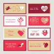 Set of Valentines day greeting card templates — Wektor stockowy