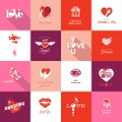 Stock Vector: Set of Valentines day icons