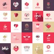 Big set of icons for Valentines day, Mothers day, wedding, love and romantic events — Cтоковый вектор
