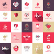 Big set of icons for Valentines day, Mothers day, wedding, love and romantic events — Stockvector