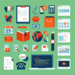 Flat design vector illustration concept icons set of business working elements — Stock Vector