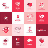 Set of love and romantic icons for Valentines day — Stockvektor