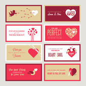 Set of Valentines day greeting card templates — Stok Vektör