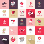 Sevgililer günü için ikonlar, anneler günü, düğün, aşk ve romantik olayları büyük bir set — Stok Vektör