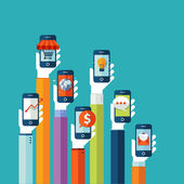 Flat design vector illustration concept for mobile apps — Stock Vector