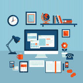 Flat design vector illustration concept of modern business workspace — 图库矢量图片