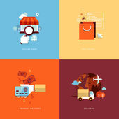 Set of flat design concept icons for online shopping — Stock Vector
