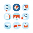 Set of modern flat design icons on business and finance theme. Icons for mobile phone business app, e-commerce, contract, internet marketing, market research, banking and money transfer, communication — Stock Vector