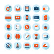 Flat design modern vector illustration icons set of web design, seo, business and marketing items. Icons with long shadow in stylish colors, isolated on white. — Stock Vector