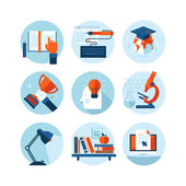 Set of modern flat design icons on the topic of knowledge and education. Icons for web and mobile services and apps. Isolated on white background. — Stock Vector