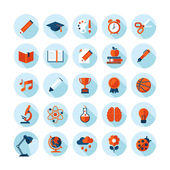 Set of modern flat icons with long shadow in stylish colors on education, sport, science, biology, art and music — Stock Vector
