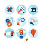 Set of modern flat design concept icons on marketing theme. Icons for internet marketing, design development, photography, market research, social network, planning, ideas brainstorming, creativity. — Stock Vector