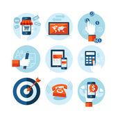 现代平面设计电子商务主题上的图标集。网上购物的图标,互联网营销、 refferal 市场营销、 计算机和手机应用程序,资金、 规划、 策略及广告. — 图库矢量图片