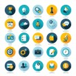 Set of flat design icons for Business, SEO and Social media marketing — Stock Vector