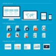 Set of flat design icons for web and mobile phone services and apps. Icons for web design development, web page design layouts, various devices — Vector de stock  #40628287