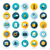 Set of flat design icons for Business, SEO and Social media marketing — Stock vektor