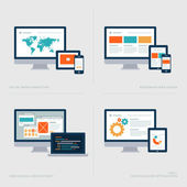 Set of flat design concept icons for Social media marketing, Responsive web design, Web design and development, SEO — Vettoriale Stock