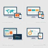 Set of flat design concept icons for Social media marketing, Responsive web design, Web design and development, SEO — Vecteur