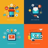 набор плоских иконок концепцию дизайна веб-и мобильных телефонных услуг и приложений. иконки для мобильного маркетинга, электронный маркетинг, маркетинг видео и цифрового маркетинга. — Cтоковый вектор