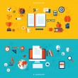 Flat design vector illustration concepts of education and online learning — Stockvector