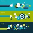 Постер, плакат: Set of flat design vector illustration concepts for management strategy and digital marketing