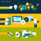 Set of flat design vector illustration concepts for creative process, web design & development and branding. — Vecteur