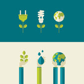 Set of flat design vector illustration concepts for green energy and save the planet, water and nature. Concepts for web banners and printed materials. — Stockvector