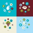 Set of flat design concept icons for water, coffee, wine and milk — Stock Vector #42318787