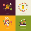 Set of flat design concept icons for food and restaurant — Stock vektor #42318705
