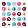 Set of flat design dessert icons — Stock Vector