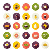 Set of flat design icons for restaurant, food and drink. — Stock Vector