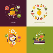 Set of flat design concept icons for food and restaurant — Stock Vector