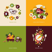 Set of flat design concept icons for organic food and drink — Stok Vektör