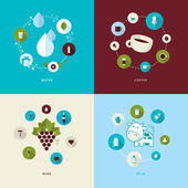 Set of flat design concept icons for water, coffee, wine and milk — Stock Vector