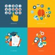 Set of flat design concept icons for online education — Stock Vector