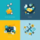 Set of flat design concept icons for business — Vecteur