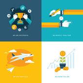 Conjunto de iconos de concepto de diseño planas para negocios — Vector de stock