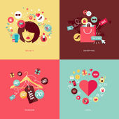 Set of flat design concept icons for beauty and shopping — Stock Vector