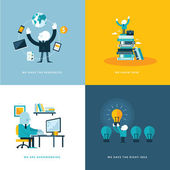 Set of flat design concept icons for business — 图库矢量图片
