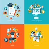 Set of flat design concept icons for education — Stock Vector