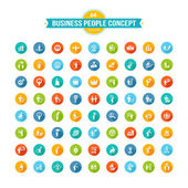 Set of flat design business people concept icons — Stock Vector