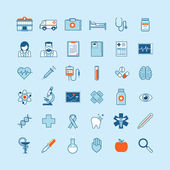 Set of flat design icons on medicine theme — Stock Vector