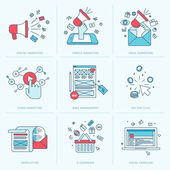 Set of flat line icons for marketing — Stock vektor