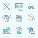 av platt linje ikoner för online-utbildning — Stockvektor  #50338927