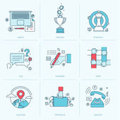 Set of flat line icons for business — Vector de stock