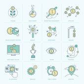 Ensemble de la ligne plat icônes pour la finance — Vecteur